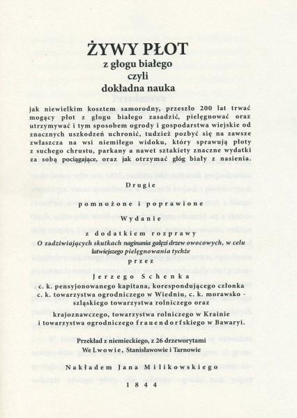 Żywy płot z głogu białego - Reprint 1844